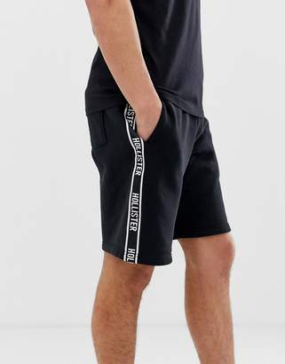 Hollister side tape print logo sweat shorts in black
