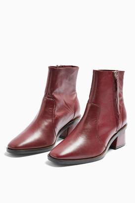 Topshop WIDE FIT MARGOT Leather Burgundy Boots