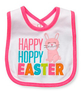 "Carter's Baby Girls' White/Pink ""Happy Hoppy Easter"" Bib"