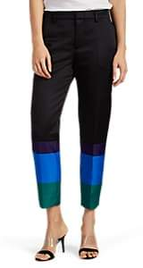 Pt01 Women's Colorblocked Silky Twill Straight Crop Trousers - Black