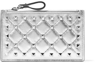 Valentino Garavani The Rockstud Metallic Quilted Leather Pouch - Silver