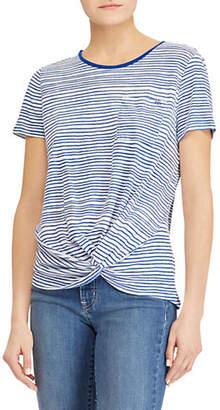 Lauren Ralph Lauren Petite Striped Twist-Front T-Shirt