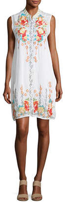 Johnny Was Basille Georgette Embroidered Tunic Dress, Plus Size