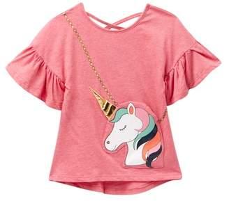 Jessica Simpson Unicorn Ruffled Purse Tee (Little Girls)