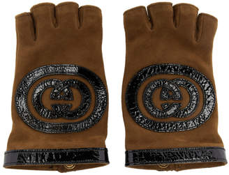 Gucci Brown Logo Fingerless Gloves