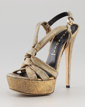 Casadei Disco Y-Strap Sandal, Gold