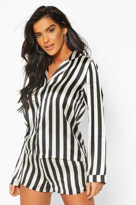 boohoo Satin Stripe Print Long Sleeve And Short PJ Set