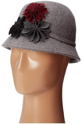 Scala Wool Felt Cloche with Assorted Flowers Caps