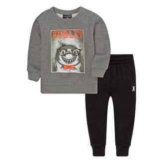 Hurley Baby Boy Shark Gray Sweatshirt & Pants Set
