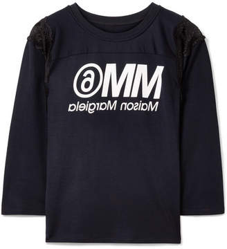 MM6 MAISON MARGIELA Lace-trimmed Printed Jersey T-shirt - Navy