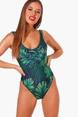 boohoo Petite Leaf Print Swimsuit