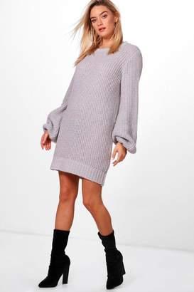 boohoo Blouson Sleeve Soft Knit Jumper Dress