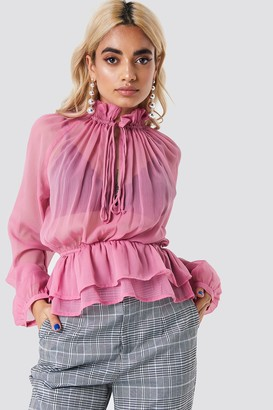 Na Kd Boho High Frill Neck Top Ballet Pink