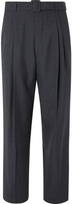 Dries Van Noten Anthracite Tapered Belted Pleated Melange Wool Trousers