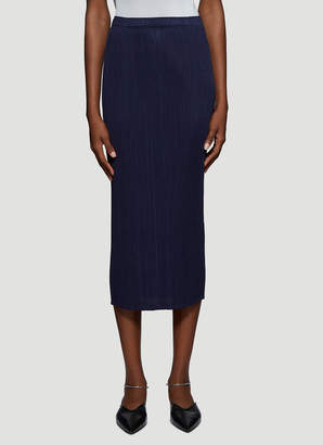Pleats Please Issey Miyake Basic Pleated Skirt in Navy