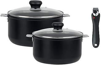 [クリステル] ブラックライン 深鍋セット 18cm&20cm (ガラスふた&ハンドル1本付)