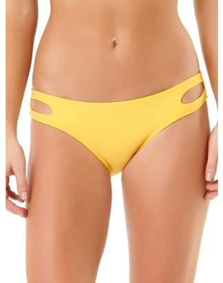 No Boundaries Juniors' Solid Cutout Scoop Bikini Bottom