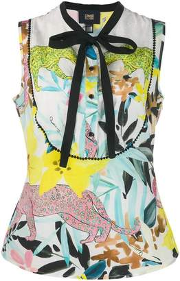 Class Roberto Cavalli big cat print sleeveless blouse