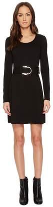 Versace Jeans - Long Sleeve Scoop Neck Belted Dress Women's Dress