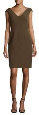 Adrianna Papell Crepe Sheath Olive Dress