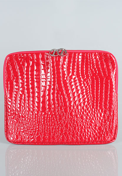 Faux Croc Laptop Sleeve in Red