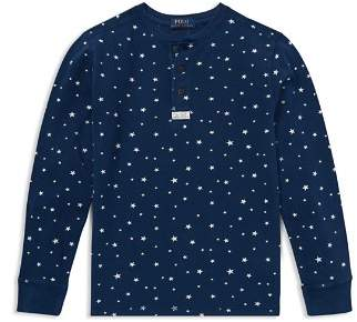 Ralph Lauren Boys' Star-Print Cotton Mesh Henley - Big Kid