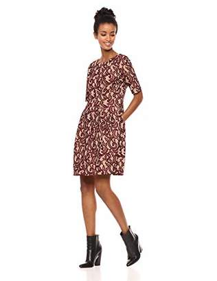 Gabby Skye Women's Printed Lace Fit and Flare Dress