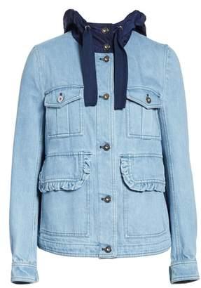 Moncler Hooded Denim Jacket