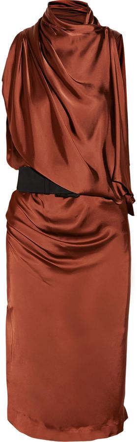 Donna Karan Asymmetric draped satin-jersey dress