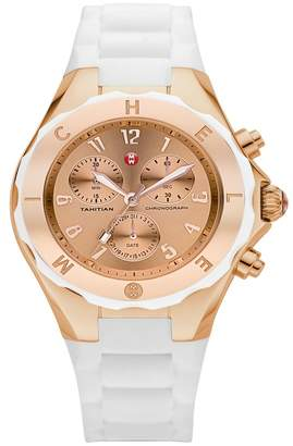 Michele Women's Tahitian Jelly Bean Silicone Strap Watch, 40mm
