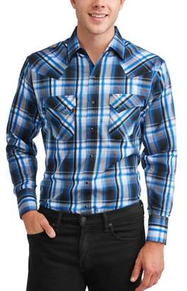 Plains Big And Tall Men's Long Sleeve Textured Plaids With Offset Pocket Shirt