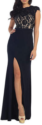 Asstd National Brand Demure Prom Evening Gown With Thigh High Slit