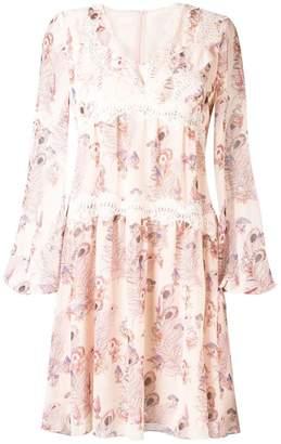 Giamba lace trim floral dress