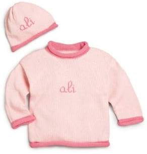 MJK Knits Baby's Two-Piece Personalized Scribble Script Cotton Sweater& Hat Set
