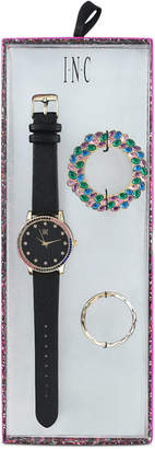 INC International Concepts I.N.C. Women's Black Faux Leather Strap Watch 38mm, Created for Macy's