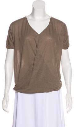 Halston Draped Short Sleeve Top