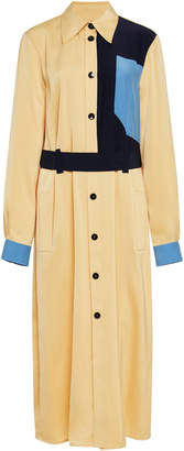 Victoria Beckham Victoria Color-Blocked Crepe De Chine Shirt Dress