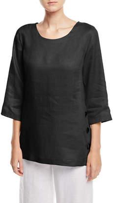 Caroline Rose Tissue-Linen Side Button Top