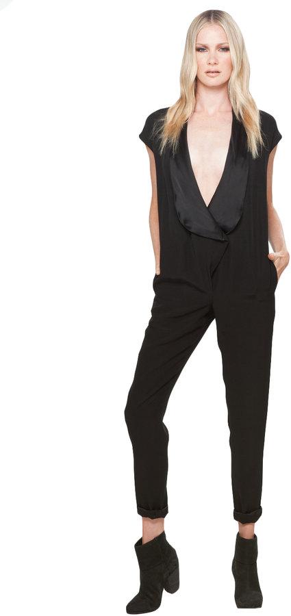 Halston Tuxedo Cady Raso Jumpsuit in Black