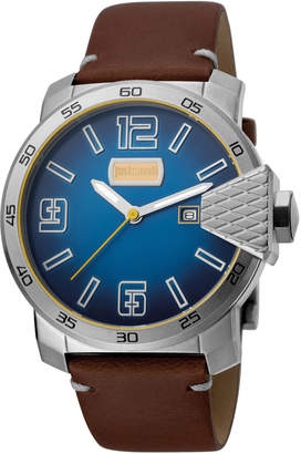 Just Cavalli 46mm Men's Rock Leather Watch, Blue