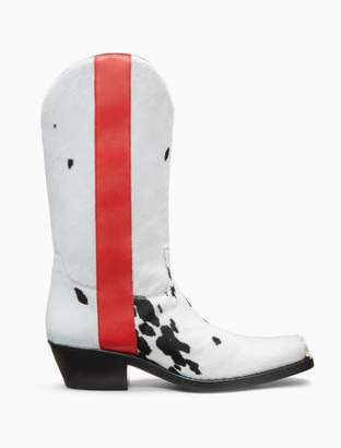 Calvin Klein western boot in printed cow haircalf leather with 205 silver toe plate