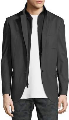 Karl Lagerfeld Paris Men's Baseball Collar Blazer w/Bib