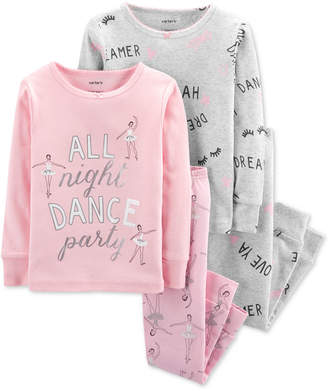 Carter's Carter Baby Girls 4-Pc. Ballerina-Print Cotton Pajamas Set