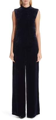 Stella McCartney Isla Lace-Up Velvet Jumpsuit