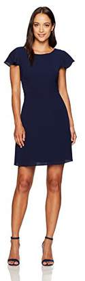London Times Women's Petite Short Sleeve Round Neck Crepe Fit and Flare Dress