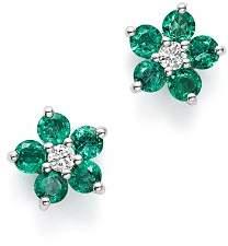 Bloomingdale's Emerald & Diamond Flower Stud Earrings in 14K White Gold - 100% Exclusive