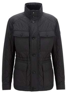 BOSS Hugo Regular-fit quilted field jacket water-repellent outer 38R Black
