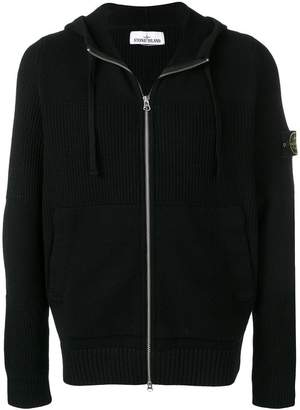 Stone Island logo patch ribbed hoodie