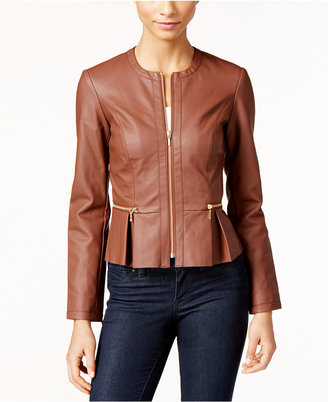 INC International Concepts Macy's Faux-Leather Peplum Moto Jacket, Only at Macy's $99.50 thestylecure.com