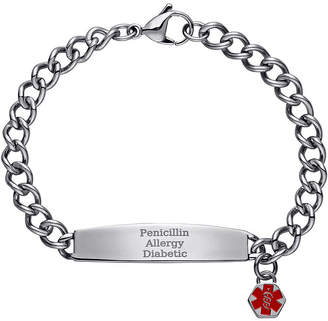 JCPenney FINE JEWELRY Stainless Steel Personalized Medical ID Charm Bracelet